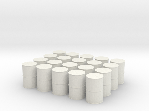 N Scale Oil Drums in White Natural Versatile Plastic