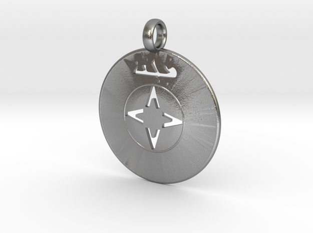 Assyrian Shield Pendent in Natural Silver