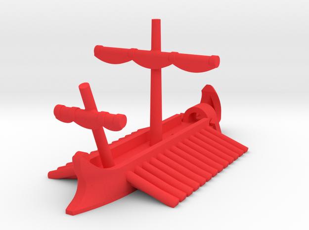 1/1200 Roman Pentaconter Bireme Game Pieces in Red Processed Versatile Plastic: Extra Small