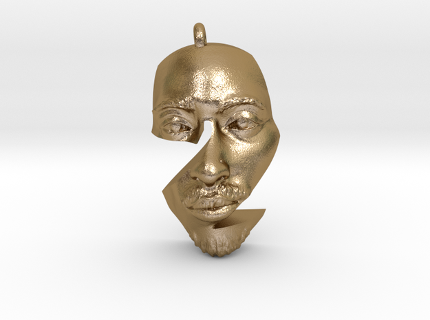 2pac Pendant in Polished Gold Steel
