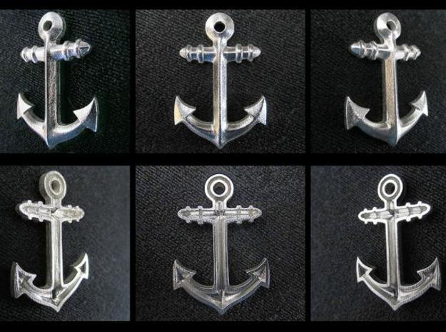 Anchor Classic 3d printed printed in silver in different views