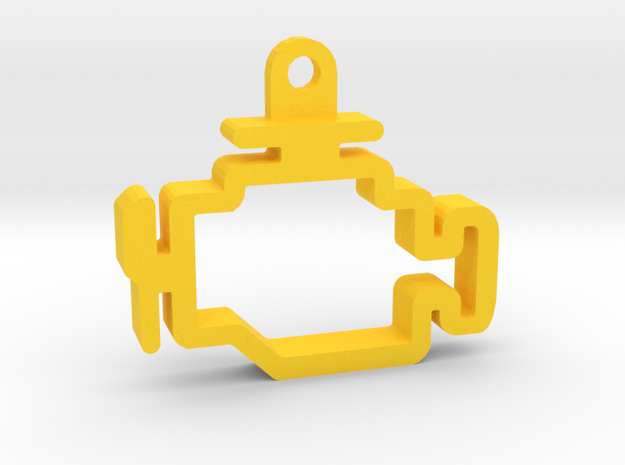 Check Engine Light Keychain Hollow in Yellow Processed Versatile Plastic