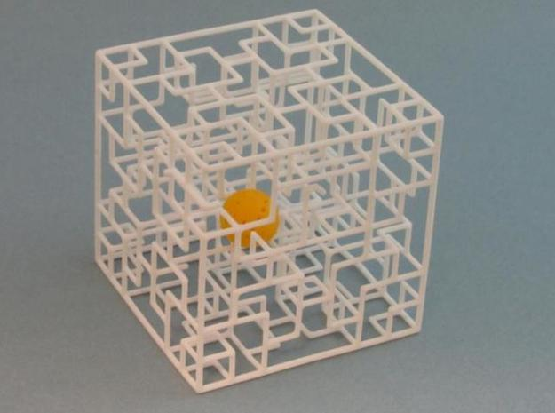 Twisted Symmetry 3d printed with ball in maze