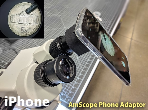 AmScope Microscope Cellphone Adapter (iPhone) in Black Natural Versatile Plastic