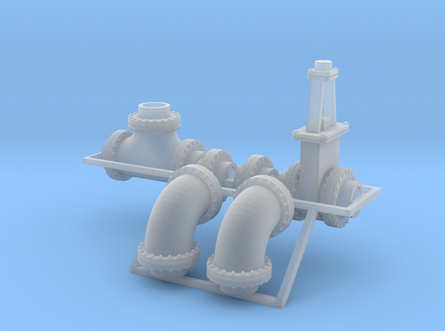 """1:87 - 24"""" flanged pipe fittings, gate valve 2ea in Smooth Fine Detail Plastic"""