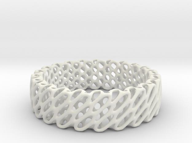 Diagrid ring in White Natural Versatile Plastic