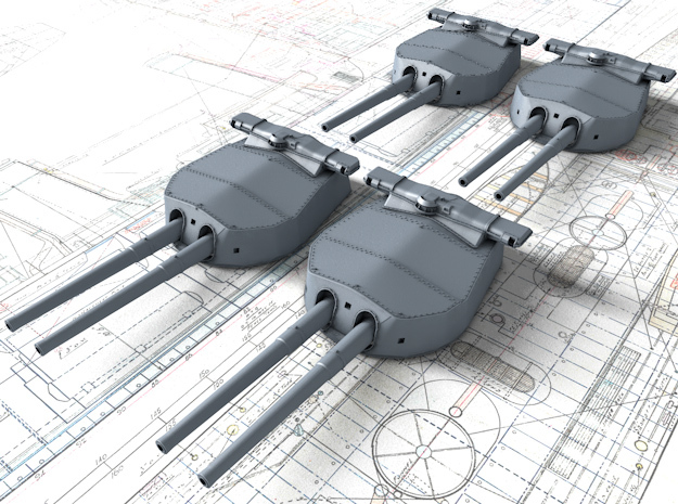 "1/400 HMS Hood 15"" (38.1 cm) Mark II Turrets 1920 in Smooth Fine Detail Plastic"