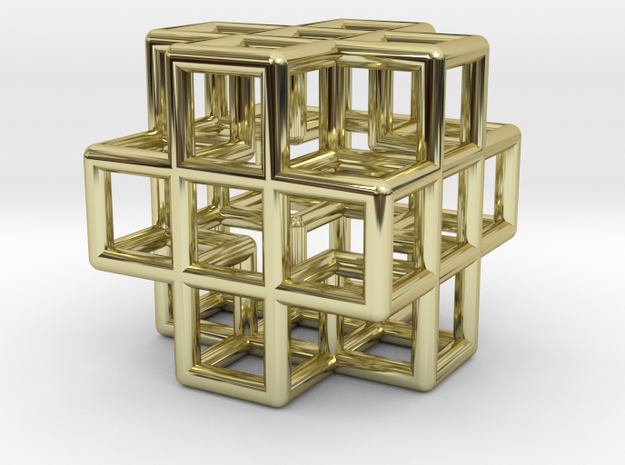Pendant Cross cube in 18k Gold Plated Brass