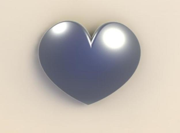 Rounded Heart Pendant in White Natural Versatile Plastic