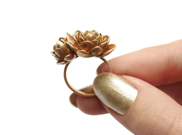 Lotus Ring  in 18k Gold Plated Brass: Medium