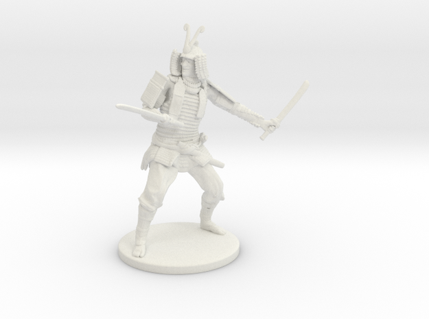 Samurai Miniature in White Natural Versatile Plastic: 1:55
