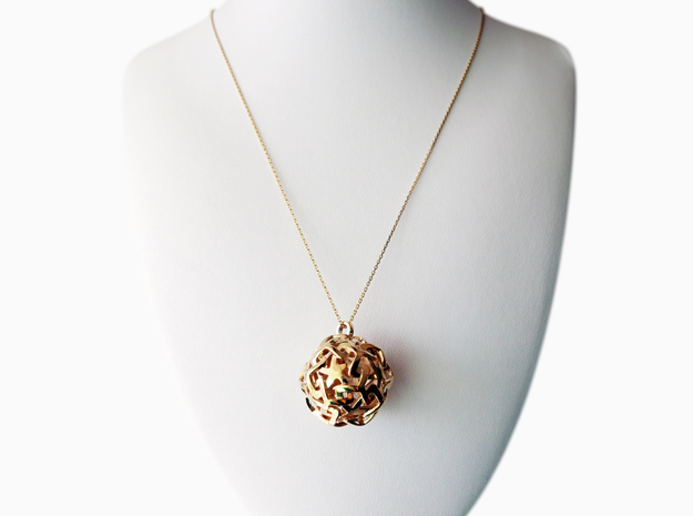 12-Stars sphere pendant in Polished Brass
