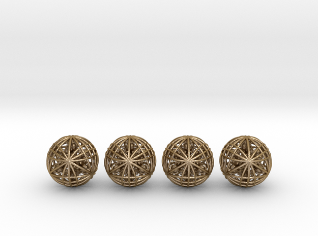 "Four Awesomeness Juggling Balls (4x2.5"") in Polished Gold Steel"