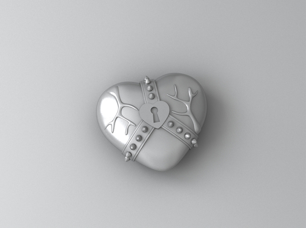 Studded Strap Heart Pendant in Polished Bronzed Silver Steel