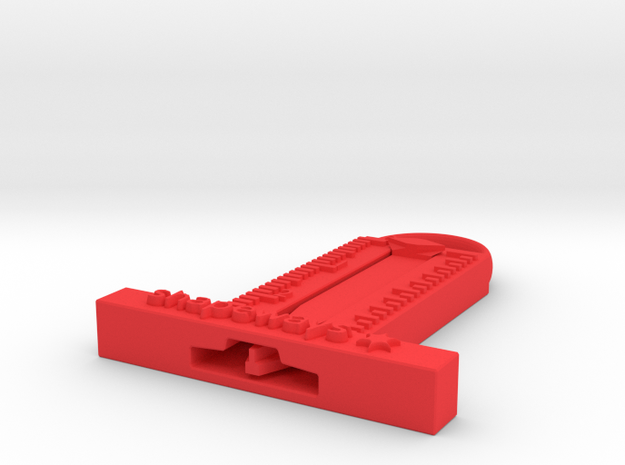 tire tread measurer with loop in Red Processed Versatile Plastic
