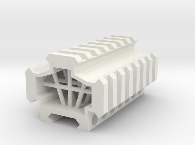 Picatinny rail splitter to 3 - 7 slot in White Natural Versatile Plastic