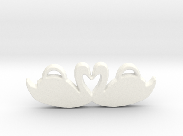 Swans Forming a Heart in White Processed Versatile Plastic