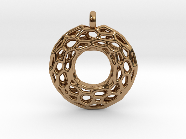Circle Mesh Pendant 1 in Polished Brass