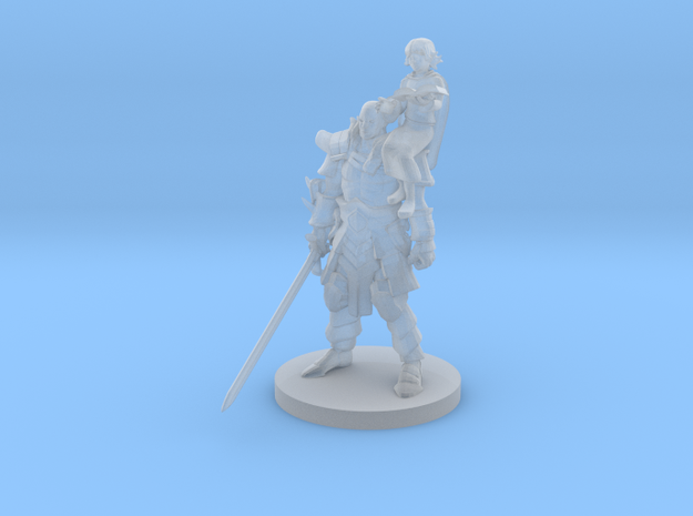 Barbarian and Girl Mage in Smooth Fine Detail Plastic