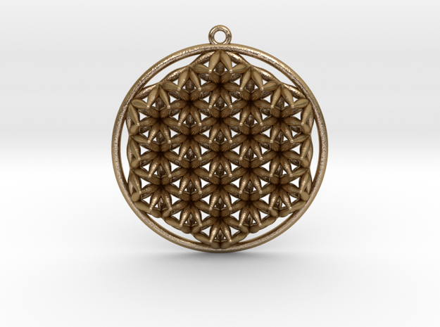 """Super Flower of Life (One Sided) Pendant 1.5"""" in Polished Gold Steel"""
