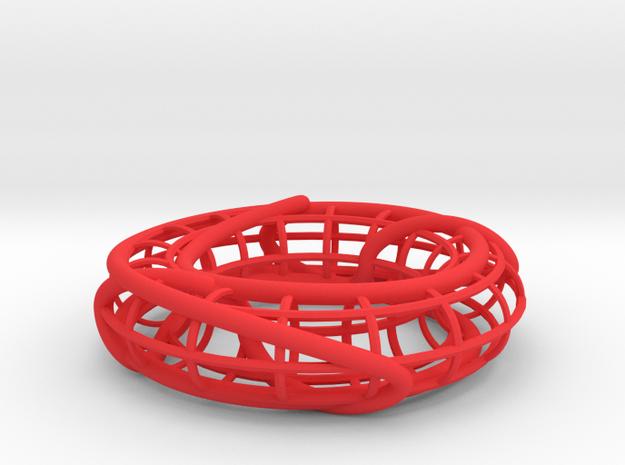 Connected Sum of Trefoils on a Torus in Red Processed Versatile Plastic