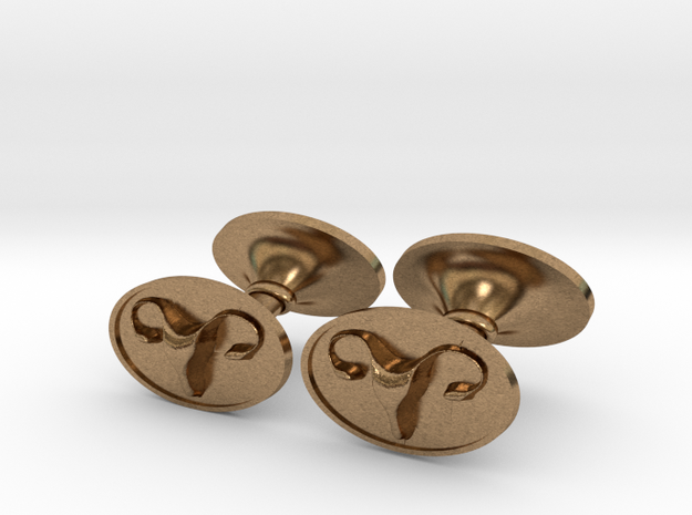 The Vagina Ram© Crest Cufflinks in Natural Brass