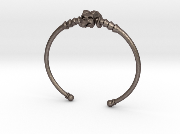 Skeletor Staff Bangle in Polished Bronzed Silver Steel