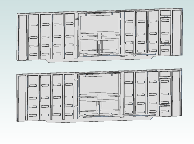 Great Northern boxcar sides waffle 4200 series in Smooth Fine Detail Plastic