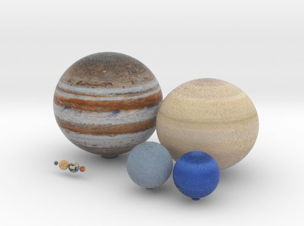 The 8 planets to scale, 1:0.7 billion in Full Color Sandstone