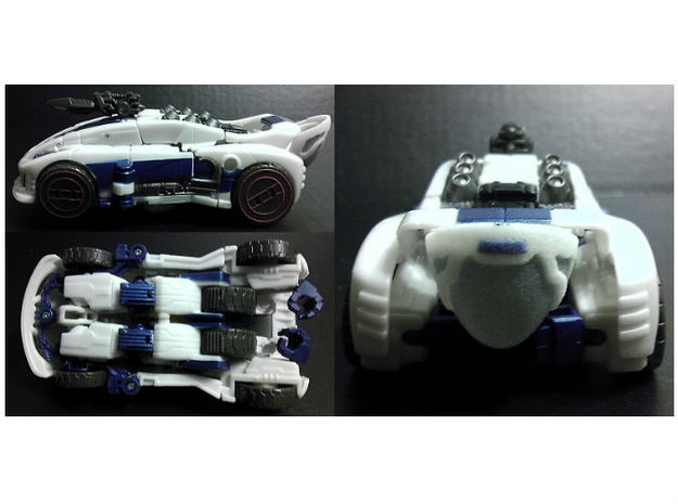 Exosuit Dome For TF FOC JAZZ 3d printed Full Color Sandston Dome on TF Deluxe FOC Jazz (Vehicle Mode)
