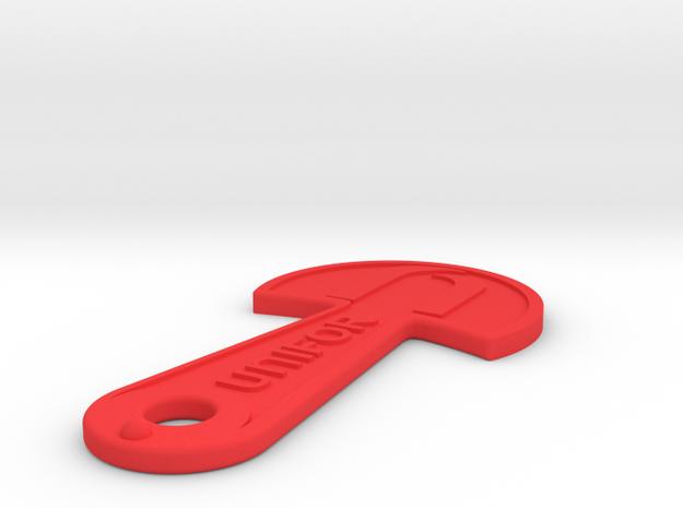 Cart Key - UNIFOR - Raised Letters in Red Processed Versatile Plastic