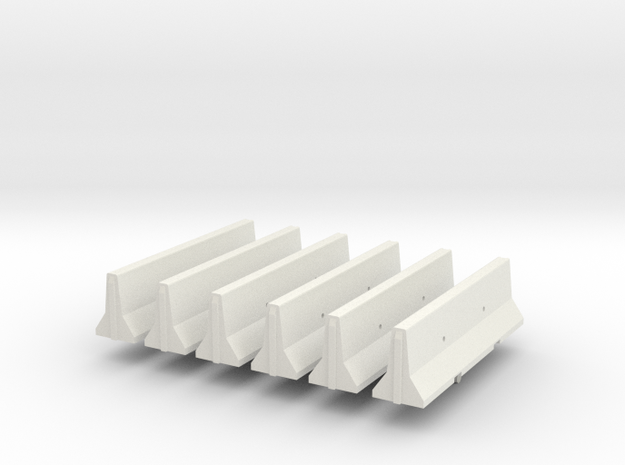 1/64th Concrete Jersey Barriers set of 6 in White Natural Versatile Plastic