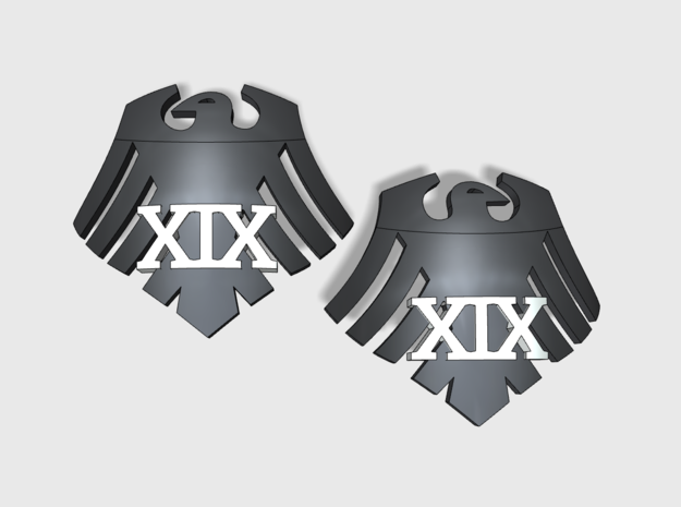 60x Raven 19: Shoulder Insignia pack in Smooth Fine Detail Plastic