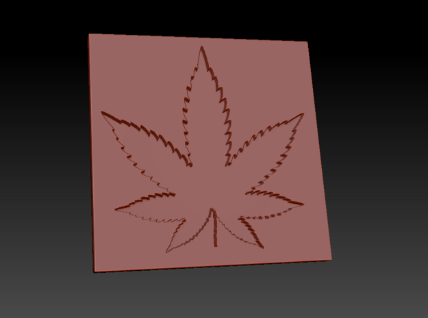 Weed/Marijuana Themed Coaster in White Natural Versatile Plastic