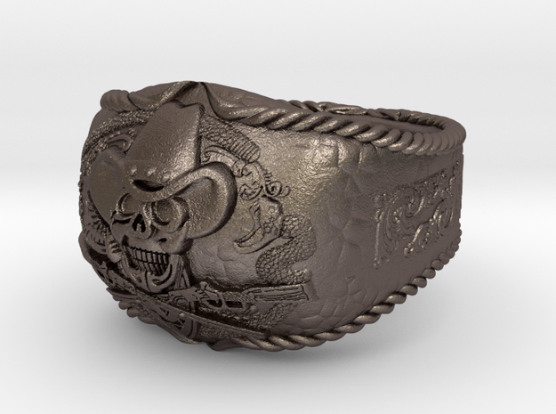 western skull ring in Polished Bronzed Silver Steel: 8 / 56.75