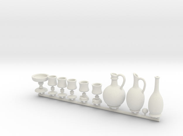 Drinkware for 1:12 scale settings. Set A in White Natural Versatile Plastic