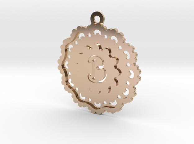 Magic Letter B Pendant in 14k Rose Gold Plated Brass