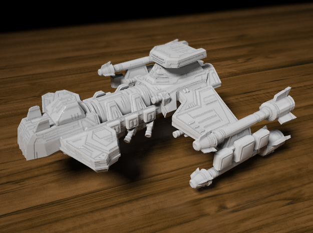 Battlecruiser 65mm long x 56mm wide x 29.5mm tall in Smooth Fine Detail Plastic