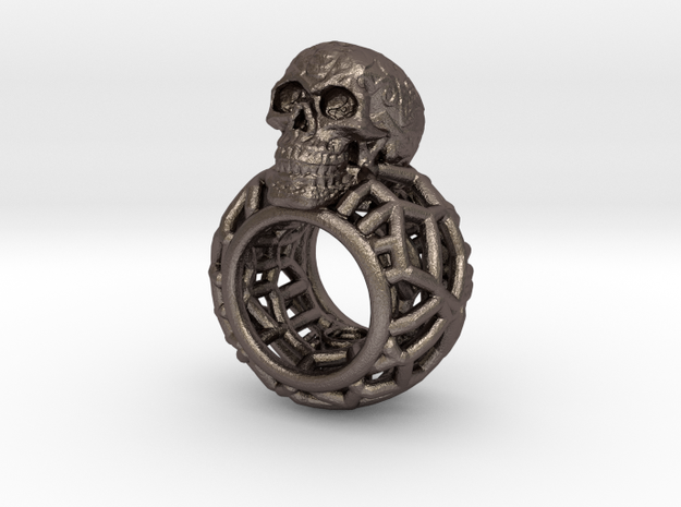 Ring-Totenkopf-wire-LR-4nut in Polished Bronzed-Silver Steel: Small