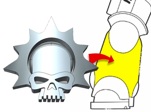 20x Halo Skull : Small Bent Insignias in Smooth Fine Detail Plastic