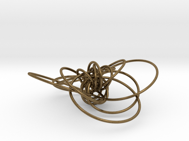 pendant p c geodesics closed + interlocked in Natural Bronze (Interlocking Parts)