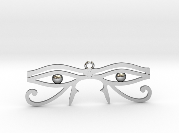 """Double Eye of Horus Pendant 2.5"""" in Polished Silver"""