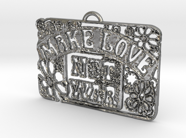 Make Love Not War Pendant in Natural Silver