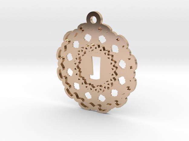 Magic Letter J Pendant in 14k Rose Gold Plated Brass