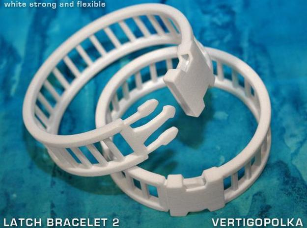 Latch Bracelet 2 3d printed white strong and flexible