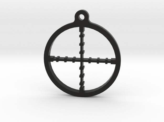 Crosshair Keychain in Black Natural Versatile Plastic