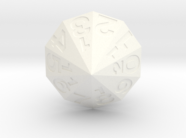 d20 Decagonal Bipyramid in White Processed Versatile Plastic