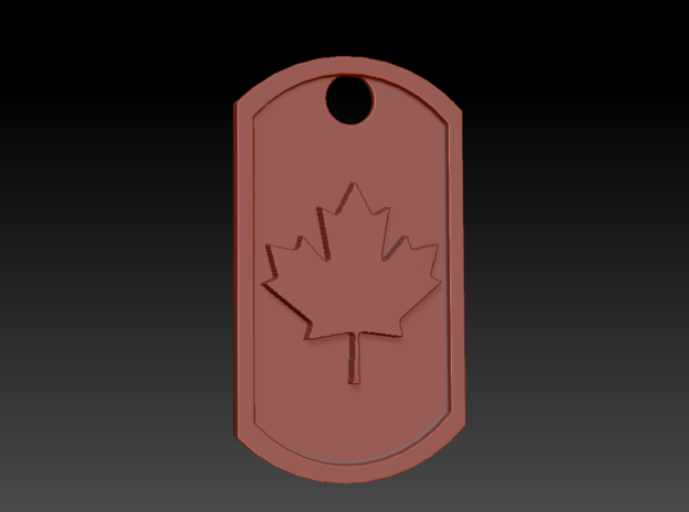 Canadian Maple Leaf Dog Tag in White Natural Versatile Plastic
