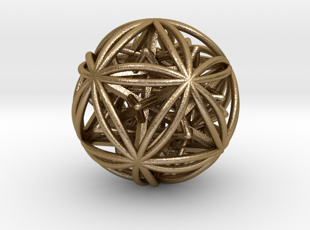 "Icosasphere w/ Nested SuperStar 1.8"" in Polished Gold Steel"
