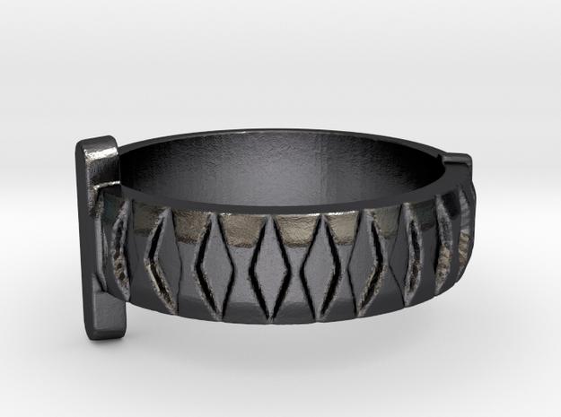 Katana Sword Ring (Metal) in Polished and Bronzed Black Steel: 5 / 49